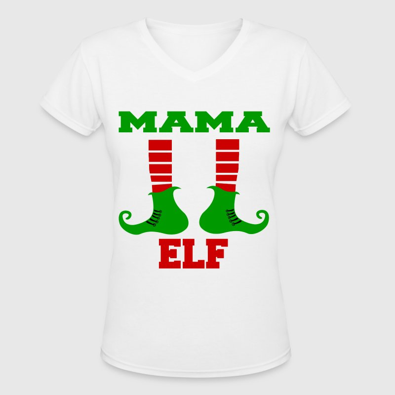 MAMA ELF.png - Women's V-Neck T-Shirt