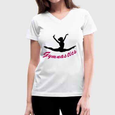 gymnast, gymnastics - Women's V-Neck T-Shirt