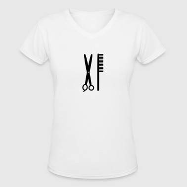 Comb & Scissors - Hairdresser - Women's V-Neck T-Shirt
