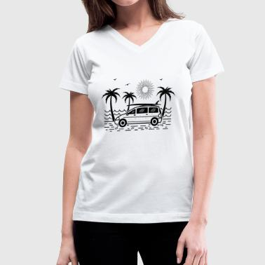 Surfbus Surfbus (dark background) - Women's V-Neck T-Shirt
