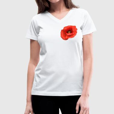 Poppy Flower Red Poppy - Women's V-Neck T-Shirt