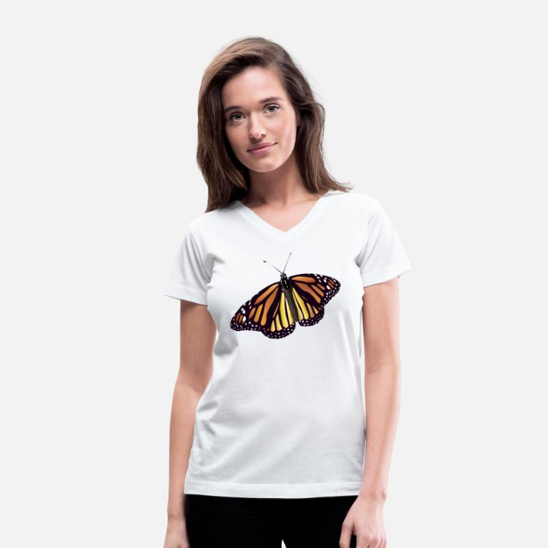Monarch T-Shirts - Monarch Butterfly - Women's V-Neck T-Shirt white