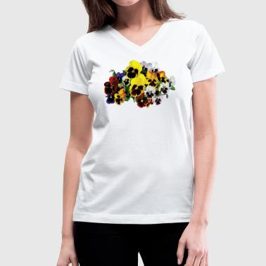 Pansy Mixed Pansies - Women's V-Neck T-Shirt