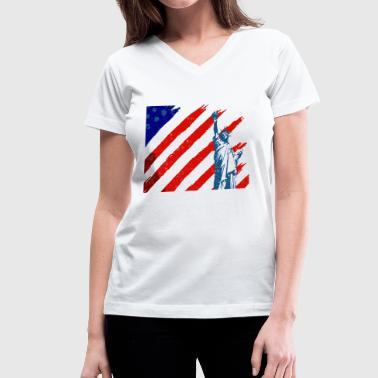 Statue of Liberty & American Flag - Women's V-Neck T-Shirt