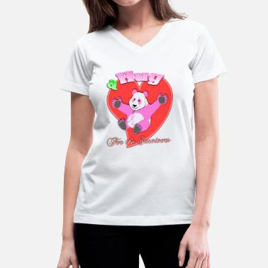 Breasts Hug a Hug for the Survivors Breast Cancer Panda - Women's V-Neck T-Shirt