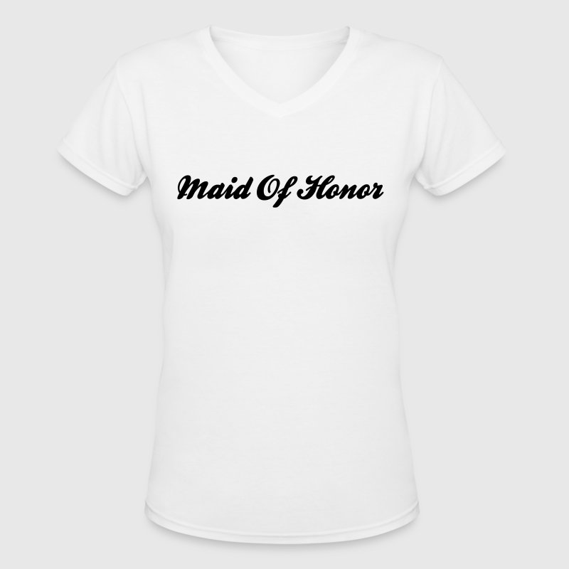 Maid of Honor Text Word Graphic Design Picture Vector - Women's V-Neck T-Shirt