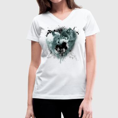Wolves Design HEART WOLVES - Women's V-Neck T-Shirt