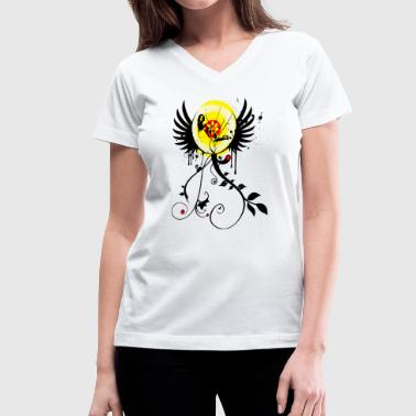 Graffiti Flower Girl - Paint Splatter Graphic Design - Women's V-Neck T-Shirt