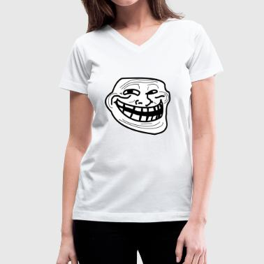 Troll Face short sleeved shirt - Women's V-Neck T-Shirt