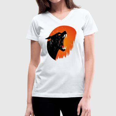 Scary Wolf scary Wolf Halloween Moon - Women's V-Neck T-Shirt