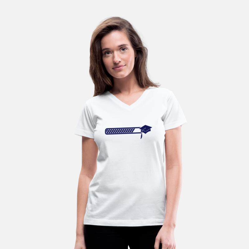 Graduation T-Shirts - graduation loading - Women's V-Neck T-Shirt white