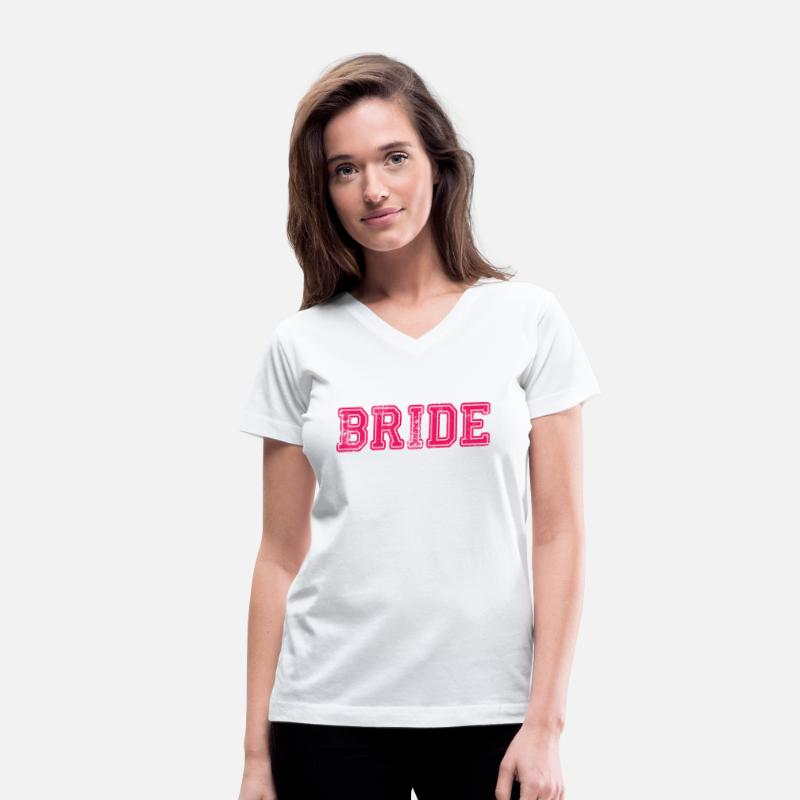 Bride T-Shirts - Bride Text Word Graphic Design Picture Vector - Women's V-Neck T-Shirt white