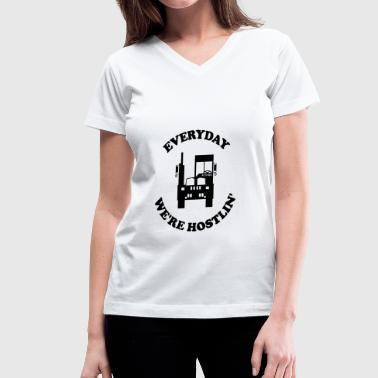 Everyday Driver Everyday We're Hostiln' - Women's V-Neck T-Shirt