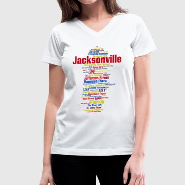 Jacksonville Florida Jacksonville (Florida, USA, The River City) - Women's V-Neck T-Shirt