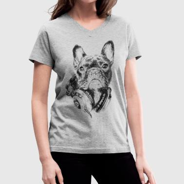 AD Bulldog The Melomaniac - Women's V-Neck T-Shirt