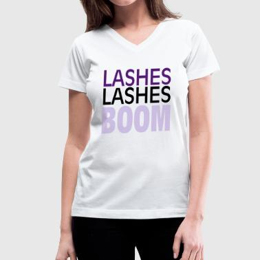 Lashes Lashes Boom - Women's V-Neck T-Shirt