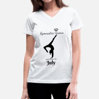 Empowr Gymnastics Queens Are Born in July - Women's V-Neck T-Shirt