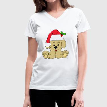 Christmas Puppy Christmas Puppy - Women's V-Neck T-Shirt