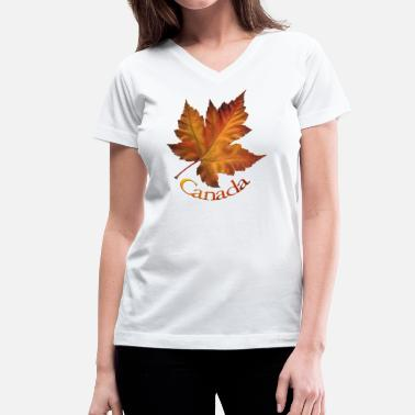 Herbalife Apparel Canada Souvenir Autumn Maple Leaf Art  - Women's V-Neck T-Shirt