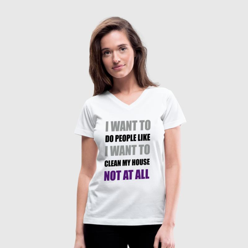 I Want To Do People Not At All Asexual LGBT Funny  - Women's V-Neck T-Shirt