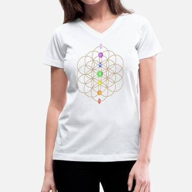 Stones Flower Of Life With Chakra Stones - Women's V-Neck T-Shirt