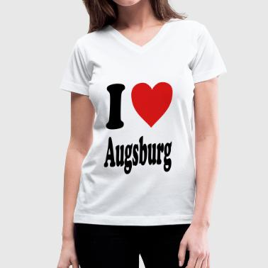 I love Augsburg (variable colors!) - Women's V-Neck T-Shirt