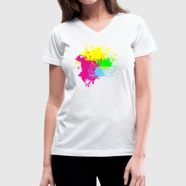 Colors Paint Splatter - Graffiti Graphic Design - Multicolor  - Women's V-Neck T-Shirt