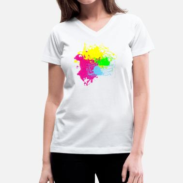 Custom Splatter Colors Paint Splatter - Graffiti Graphic Design - Multicolor  - Women's V-Neck T-Shirt