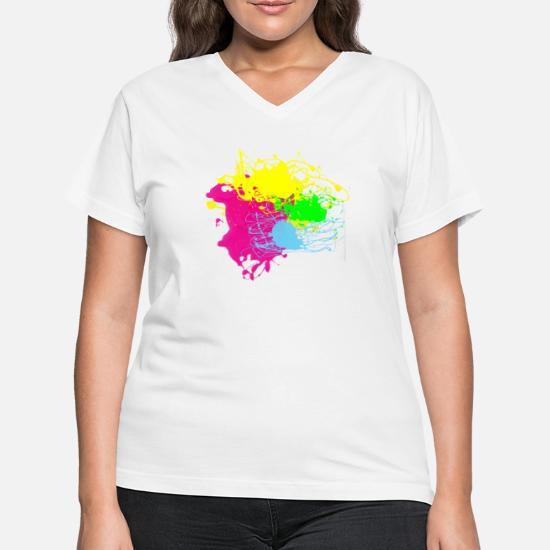 723578e3fbf61e Women's V-Neck T-ShirtColors Paint Splatter - Graffiti Graphic Design -  Multicolor