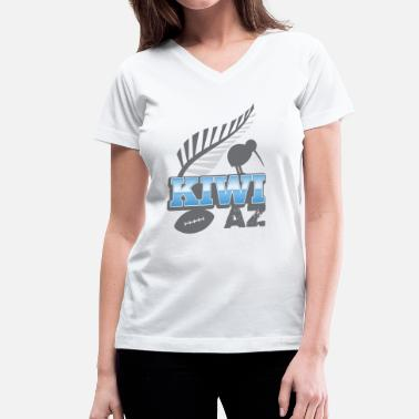 Silver Kiwi AS with silver fern bird and rugby ball - Women's V-Neck T-Shirt