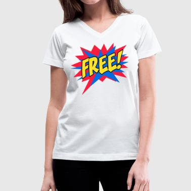 FREE comic style - Women's V-Neck T-Shirt