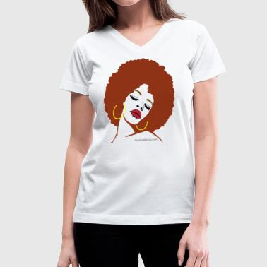 Afro Diva (Red Hair) - Women's V-Neck T-Shirt