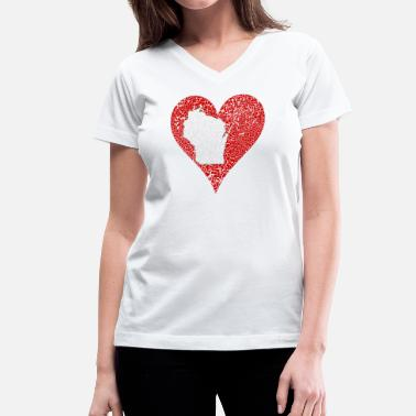 Wisconsin Clothing Wisconsin Heart Milwaukee Clothing Apparel - Women's V-Neck T-Shirt