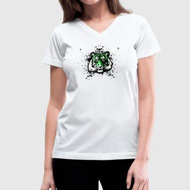 Green Tiger - Graffiti Inspired Graphic - Unisex - Women's V-Neck T-Shirt