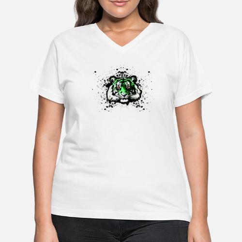 70ceb52d2d3f3 Green Tiger - Graffiti Inspired Graphic - Unisex Women s V-Neck T ...