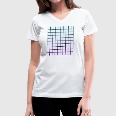 Pastel Grid - Women's V-Neck T-Shirt