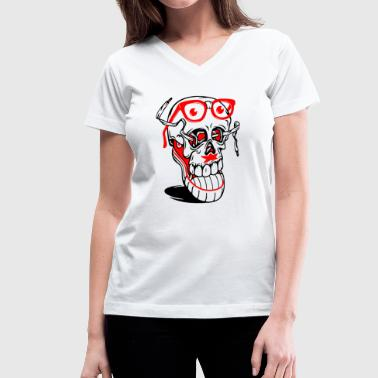 Sneaker Quotes Sneaker Skull - Women's V-Neck T-Shirt