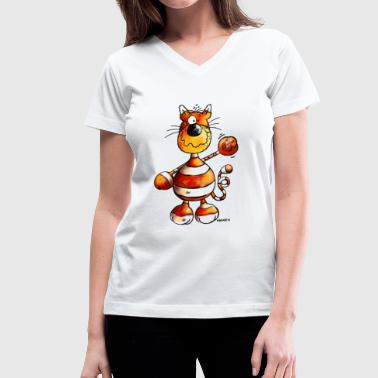 Crazy Cat - Cartoon  - Women's V-Neck T-Shirt
