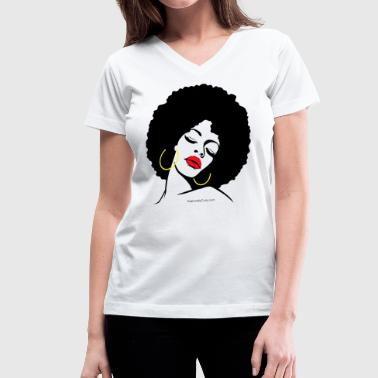 Ethnic Afro Diva - Women's V-Neck T-Shirt