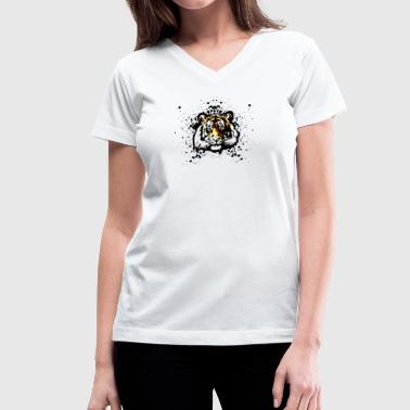 Orange Tiger - Graffiti Inspired Vector Graphic - Unisex - Women's V-Neck T-Shirt