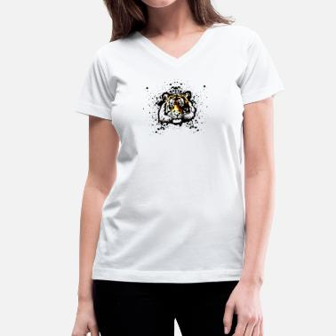 Orange Tiger Orange Tiger - Graffiti Inspired Vector Graphic - Unisex - Women's V-Neck T-Shirt