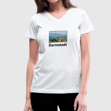 Darmstadt Darmstadt City Skyline Sights Silhouette - Women's V-Neck T-Shirt