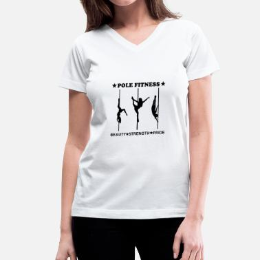 Dance Party Pole Fitness Beauty Strength Pride Black - Women's V-Neck T-Shirt