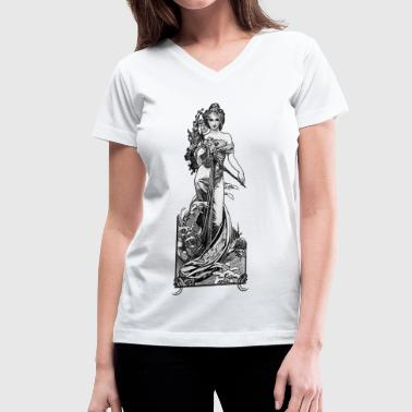 Alphonse Mucha Broken Blossoms GS - Women's V-Neck T-Shirt