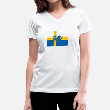 The Olympic Games Olympic Games Sweden Wales Flag - Women's V-Neck T-Shirt