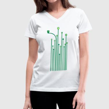 owl flower meadow lawn grassland blade of grass - Women's V-Neck T-Shirt