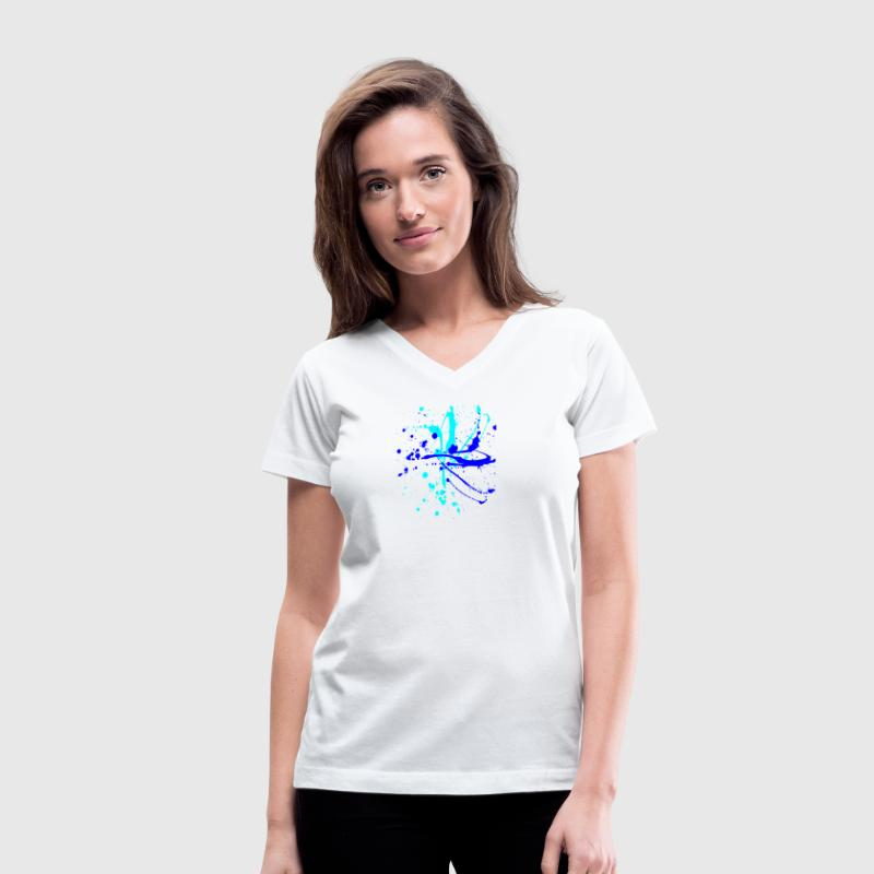 Spray Paint Splatter Multi Color Graffiti Graphic  - Women's V-Neck T-Shirt