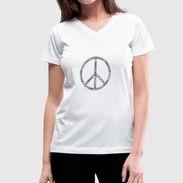 Hippie Movement Peace Love Gift Symbol movement Hippie Sign - Women's V-Neck T-Shirt