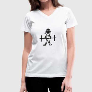 Running Stick Figure Stick figure bodybuilding girl - Women's V-Neck T-Shirt