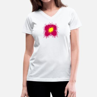 Design Your Own Flower Flower Paint Splatter - Colorful Graphic Design - Women's V-Neck T-Shirt